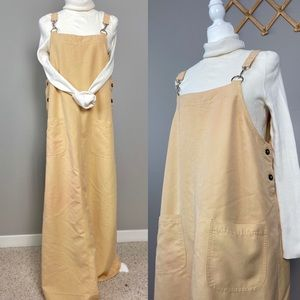 Vintage Yellow Overall Maxi Jumper Dress